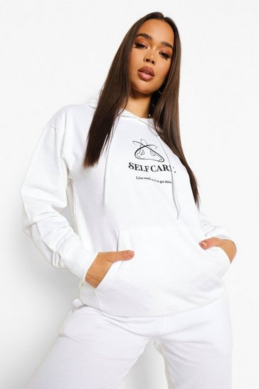White Self Care Hoodie