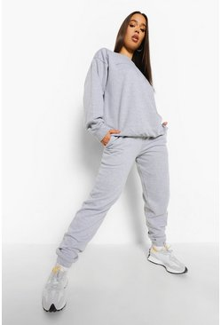 Slogan Text Print Sweater Tracksuit, Grey marl grigio