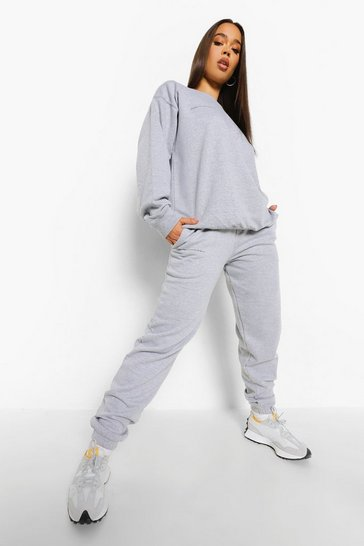 Grey marl grey Slogan Text Print Sweater Tracksuit