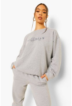 Grey marl grey Wellness Slogan Print Sweater Tracksuit