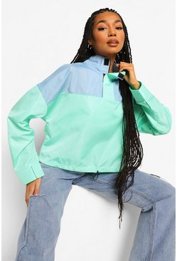 Green Colour Block Over Head Windbreaker