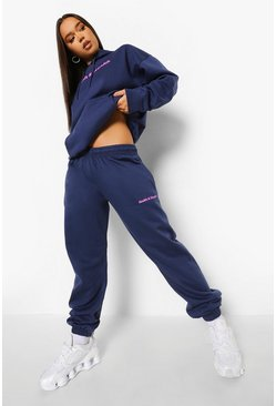 Navy Healthy & Wealth Print Tracksuit