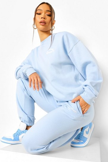 Light blue blue Positivity Slogan Tracksuit