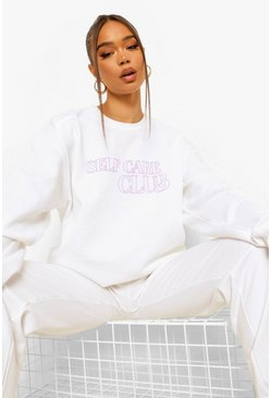 Self Care Club Sweater Tracksuit, White weiß