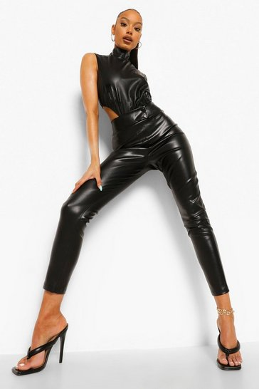 Black Popper Fastening Leather Look Pu Leggings