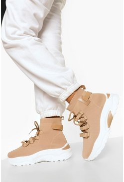 Nude Lace Up Sock Trainer