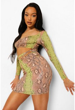 Green Slinky Snake Print Ruched Front Mini Dress