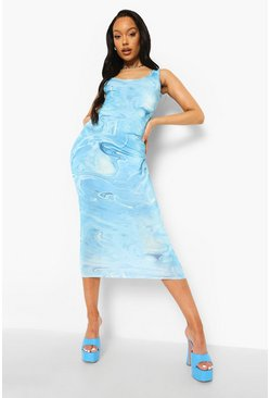 Turquoise blue Slinky Tie Dye Plunge Back Midaxi Dress