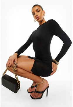 Black Side Split Long Sleeve  Mini Dress