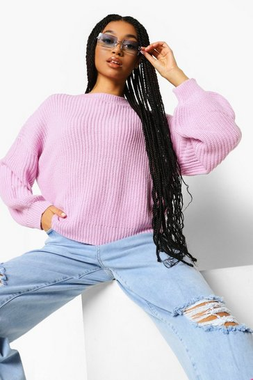 Lilac purple Oversized Balloon Sleeve Jumper