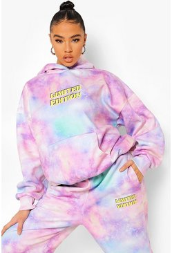 Pink Galaxy Print Hooded Tracksuit