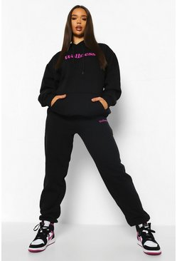 Wellness Hooded Tracksuit, Black schwarz
