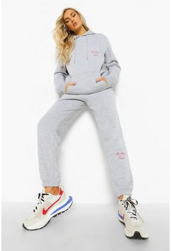 Grey marl grey Be Kind Print Tracksuit