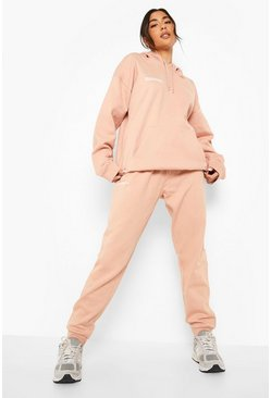 Text Print Hooded Tracksuit, Dusky pink rose