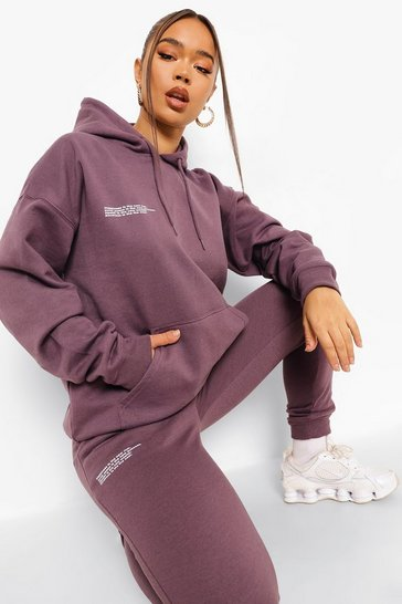 Purple Text Print Hooded Tracksuit