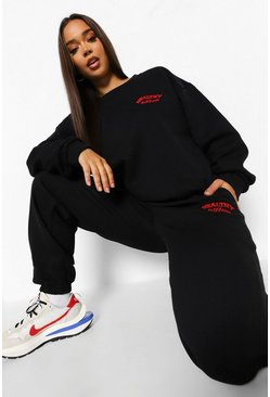 Healthy & Happy Embroidered Tracksuit, Black schwarz