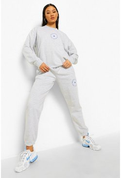 Grey marl grey Spread Love Slogan Tracksuit