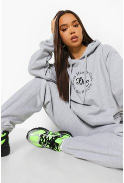 Fitness Health Club Hooded Tracksuit, Grey marl grau