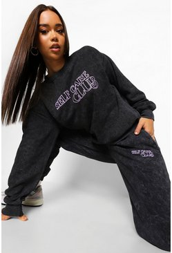 Acid Wash Self Care Club Tracksuit, Charcoal grau