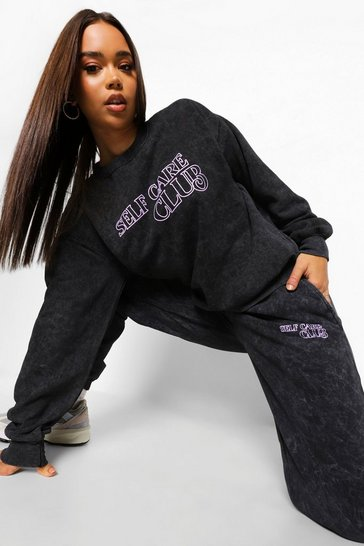 Charcoal grey Acid Wash Self Care Club Tracksuit