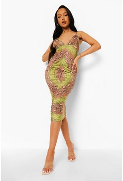 Green Slinky Snake Print Ruched Midi Dress