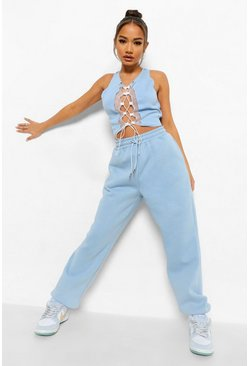 Dusty blue blue Lace Up Crop & Jogger Set