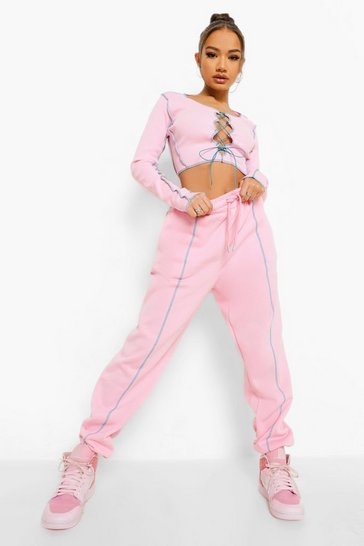Pink Contrast Lace Up Ribbed Set