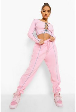 Pink rosa Contrast Lace Up Ribbed Set