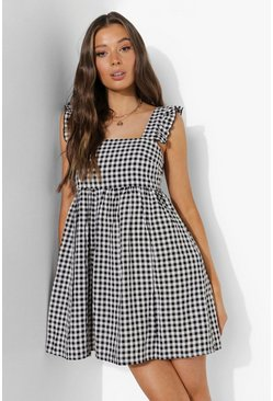 Black Gingham Ruffle Sleeve Smock Dress