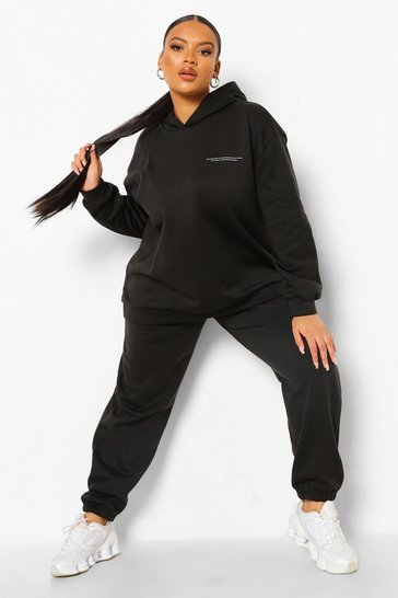 Black Plus Drink More Water Hooded Tracksuit