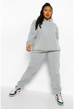 Grey marl grey Plus Drink More Water Hooded Tracksuit