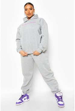 Grey marl grey Plus Health And Wealth Hooded Tracksuit