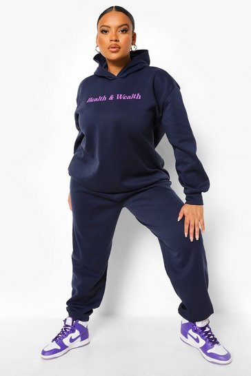 Navy Plus Health And Wealth Hooded Tracksuit