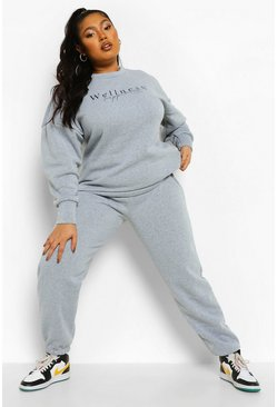 Grey marl grey Plus Wellness And Happiness Sweat Tracksuit