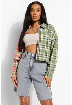 Cropped Check Flannel Shirt, Pink rosa