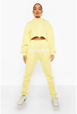 Lemon yellow Official Front Print Slim Leg Joggers
