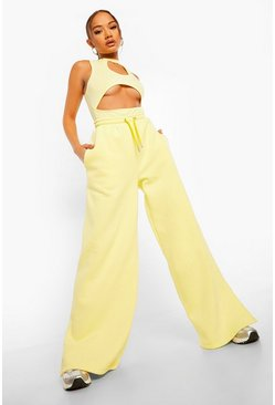 Lemon yellow Official Back Print Wide Leg Joggers
