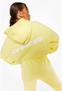 Lemon yellow Official Back Print Oversized Cropped Hoodie