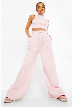 Pastel pink pink Official Seam Detail Wide Leg Joggers