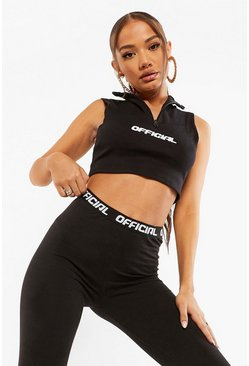 Black Official Half Zip Crop Top