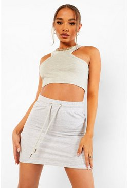 Ash grey Official Loopback Bodycon Mini Skirt