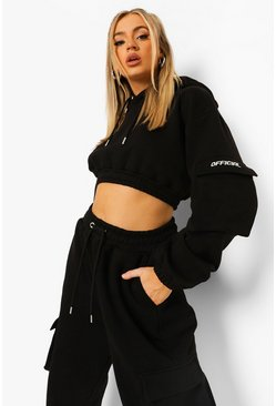 Black Official Utility Pocket Cropped Hoodie