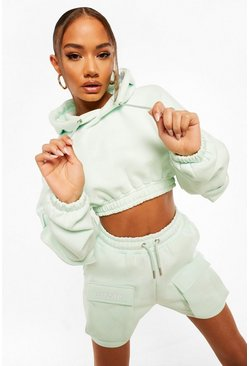 Pastel blue blue Official Utility Pocket Cropped Hoodie