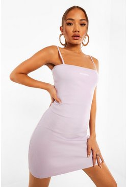 Lilac purple Official Tape Detail Bodycon Mini Dress
