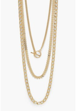 Gold metallic 3 Pack T Bar Mix Chain Pack