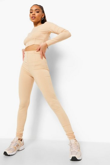 Sand beige Ribbed Panel Long Sleeve Crop & Leggings