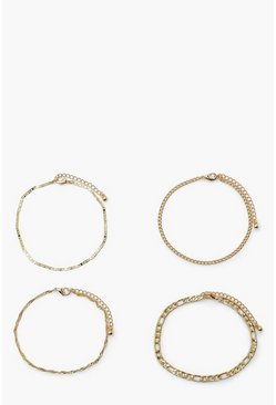 Gold metallic Mix Chain 4 Pack Anklets