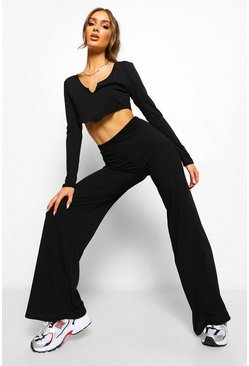 Black Ribbed V Front Crop And Wide Leg Trousers
