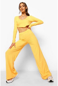 Orange Ribbed V Front Crop And Wide Leg Trousers