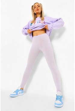 Lilac purple Basic High Waist Jersey Leggings